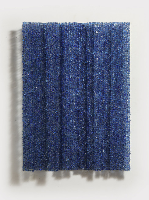 Waterfall 2101 by Ingoo Kang. 2021. Stone, -Glass Pebbles, Stainless wire, Aluminium Board. Relief sculpture