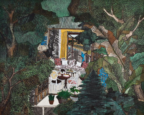 The private room by Inkyung Kwon. 2012. Korean antique book collage, Ink and acrylic on paper.