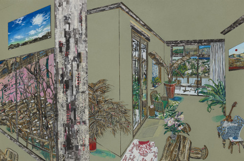 Revisited Memories At last 3 by Inkyung Kwon. 2020. Korean antique book collage, Ink and acrylic on paper.