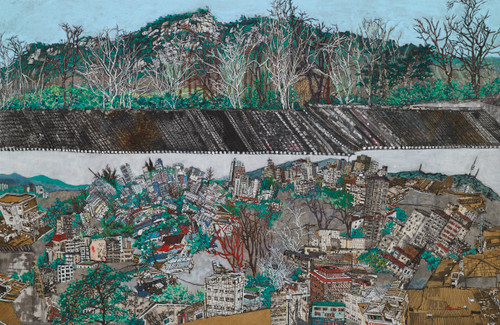 Unequal Memories 4  by Inkyung Kwon. 2020. Korean antique book collage, Ink and acrylic on paper.