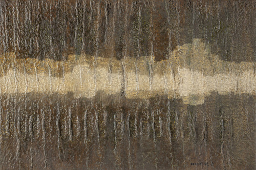 Landscape of Wu-Wei-17 by LEE, Hyeong-gon. 2020. Korean Traditional Paper, Korean Traditional Ink, East Asian Lacquer.