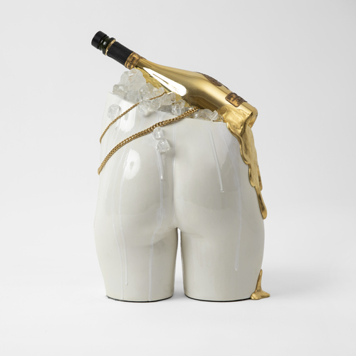 White Hot by Naomi Wallens. 2020. Jesmonite cast with spray paint and acrylic, Armand de Brignac Ace of Spades Champagne bottle, resin and putty drips hand gilded in 24 carat gold leaf, finished in a high gloss glaze. Contemporary fine art sculpture.
