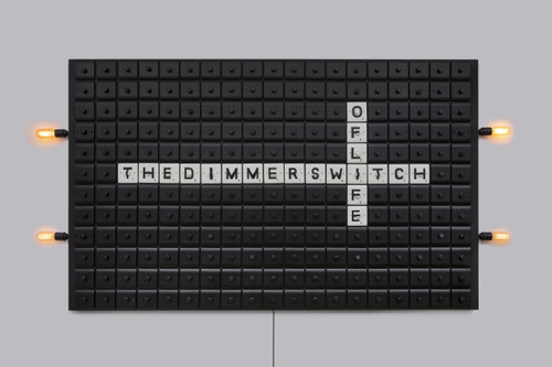 The Dimmer Switch of Life by Naomi Wallens. 2018. Wooden board with 228 dimmer switches, 4 functioning switches with corresponding 4 warm white LED bulbs, spray painted in black with hand-painted Scrabble style lettering, bespoke frame clad in solid bronze with the Artist's name engraved into the right-hand edge.  Conceptual, Fine Art, Modern Wall Art.