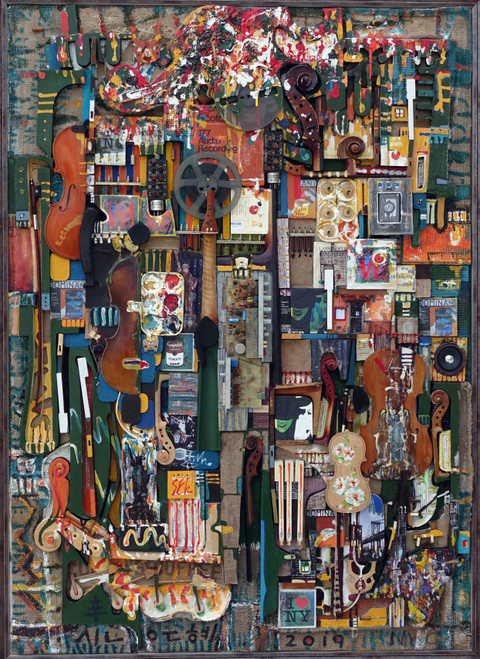 New York Rhapsody by ShinB. 2019. String, bow and mixed media on panel.