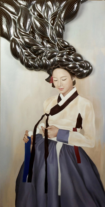 Yeo-ja[woman] 7 by Hyunsook Byun. 2021. Acrylic, form, resin on Giclee printed canvas. Portraiture. Surrealism.