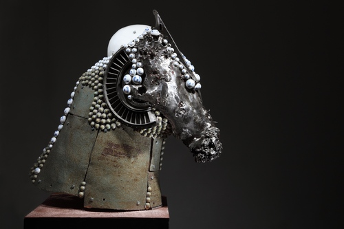 Head by Dong Hun. 2015. Iron, Ceramic, Objects. Sculpture.