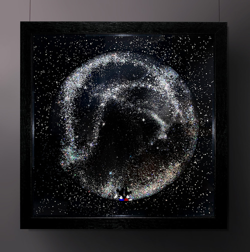 Wanderlust by Mark Petty. 2020. Reverse hand-pulled screen print on two panes of glass, hand painted, silver gilded with a holographic silver glitter insert.