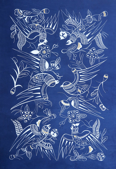 The bird totem by Lanyu Chen. 2020. Plants dye, White ink, shell gold.