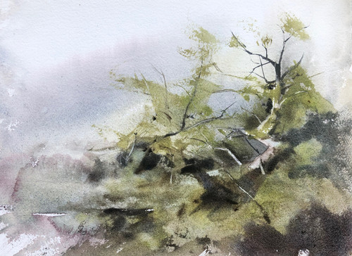Ascending to the light III by Prasad Beaven. 2021. Watercolour.