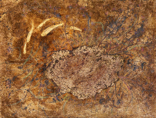 A Golden Pond by Jung Chaehee. 2006. Ott painting on wood (Ottchil, ocher, gold foil).