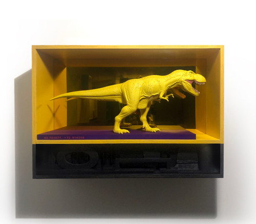 The Museum of Natural History by Kyung Tae Kim. 2020. acrylic, spray paint, found object, plexiglass and wood.