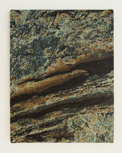 Quarry 02 by Seungwon Jung. 2020. Digital Jacquard woven tapestry, wooden panel.