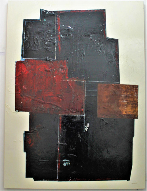 Chicago magic Fridays by Pedro Sousa Louro. 2021. Mix media and Copper powders canvas. Abstract Cubist Concept.