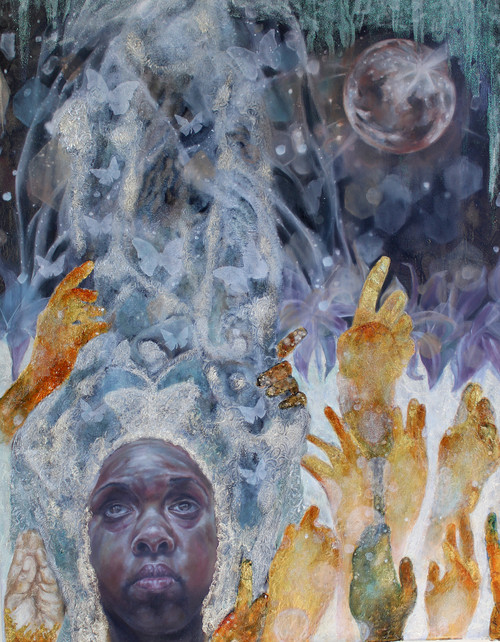 The Heavens Will Serve As Signs by Crystal Marshall. 2020. Oil on Paper