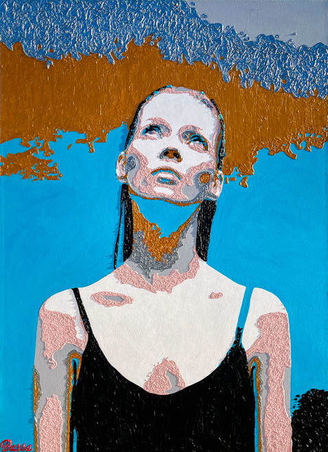 Kate Moss - 'Ghost' by BASSA. 2020. Acrylic on Canvas.