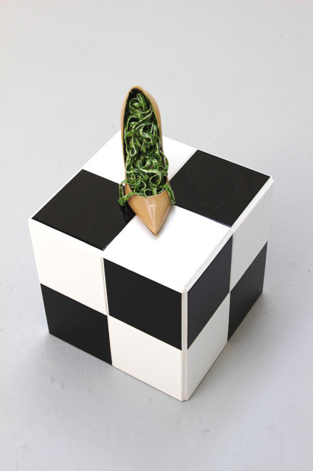 Untitled 2_Ece Bayram_2018_Patent Leather Stiletto, Ceramic Tiles, Grout, Wood Panel, Epoxy Resin, Pigment, Latex, Dried Mint, Acrylic Paint