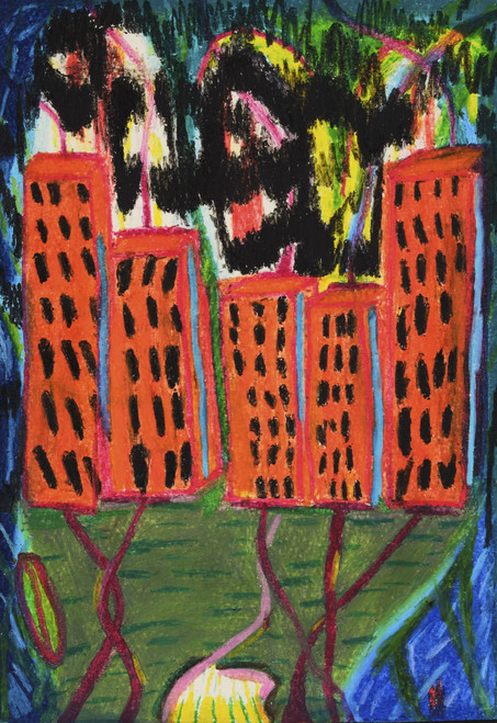 See through scenery by Elina Flyrin, 2021, Oil pastel on paper