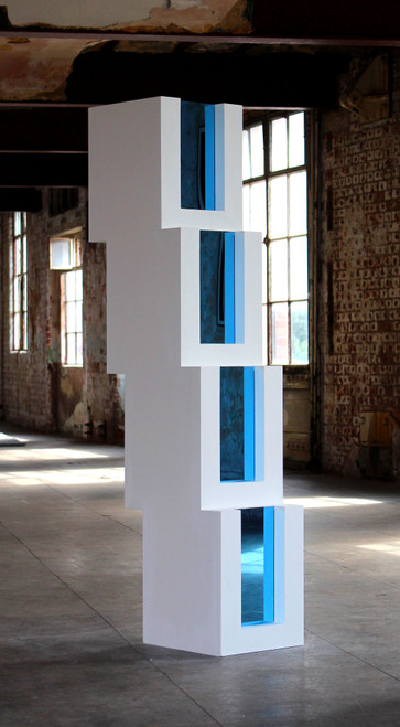 Private, Keep In by Emily Thomas_2018_Emulsion paint, MDF, blue tinted acrylic mirror _Sculpture.