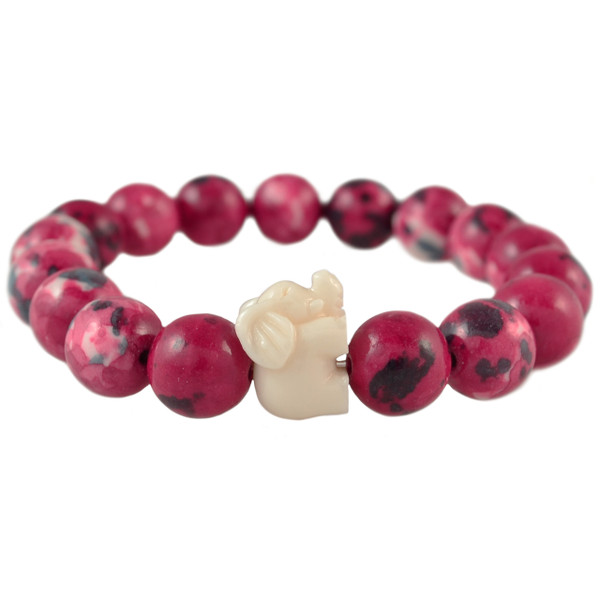 Cranberry & Cream Elephant Bracelet
