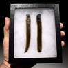 PC250  -  RARE SET OF TWO LARGE COMPLETE PRE-COLUMBIAN PRISMATIC BLADES MADE OF PRIZED GREEN OBSIDIAN FROM THE TEOTIHUACAN CULTURE