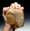 MUSEUM CLASS LOWER PALEOLITHIC OLDOWAN PEBBLE AXE FROM FAMOUS FRENCH SITE WITH FINEST CLEAVER CHOPPING EDGE *PB095