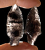 TWO PRE-COLUMBIAN TRANSLUCENT TANGED OBSIDIAN ARROWHEAD PROJECTILE POINTS *PC240