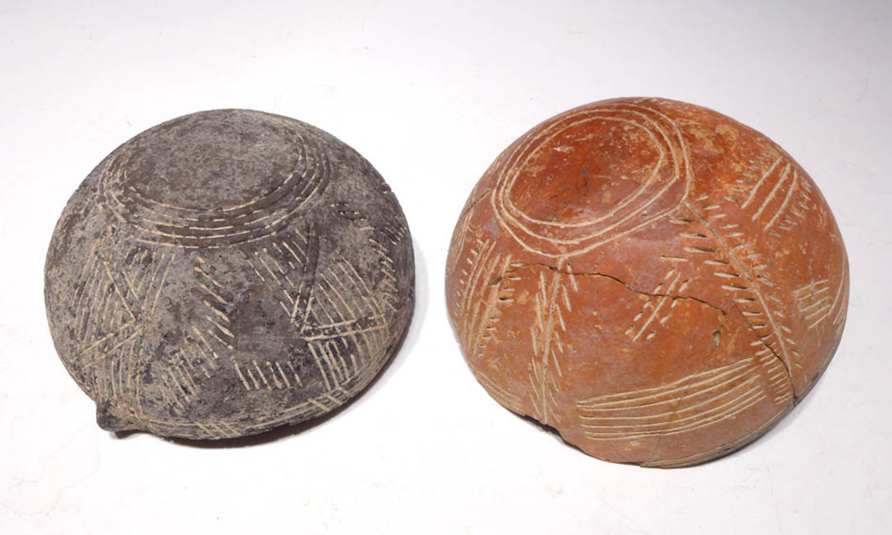 EB002 - ULTRA-RARE SET OF TWO GREEK BRONZE AGE INCISED BOWLS