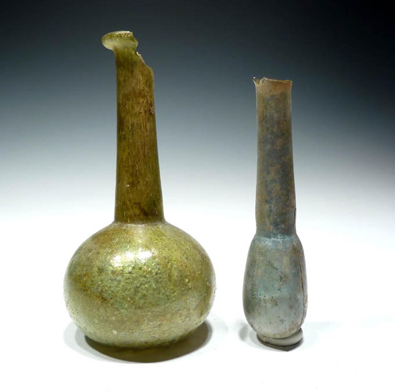 R103 - TWO COLORFUL ANCIENT ROMAN GLASS UNGUENTARIUM VIALS