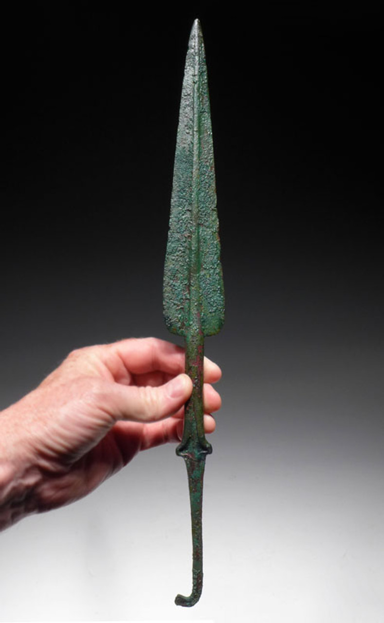 NE140 - VERY LARGE ANCIENT BRONZE NEAR EASTERN PRESTIGE SPEAR HEAD WITH SHOULDERED SHAFT DESIGN