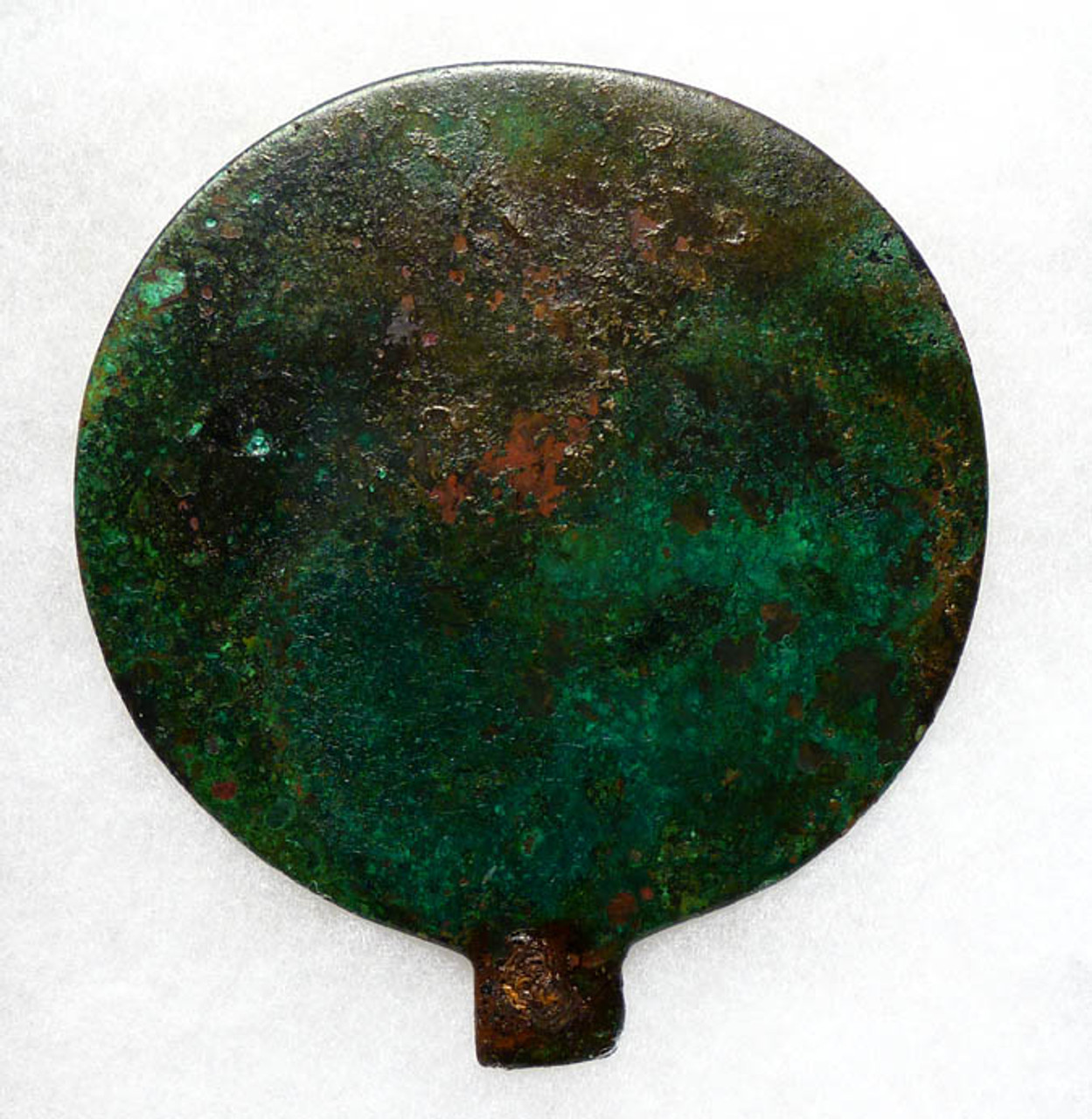 NE038 - SUPERB COMPLETE ANCIENT LURISTAN BRONZE LARGE COSMETIC REFLECTING MIRROR WITH INTACT IRON HANDLE MOUNT PIN