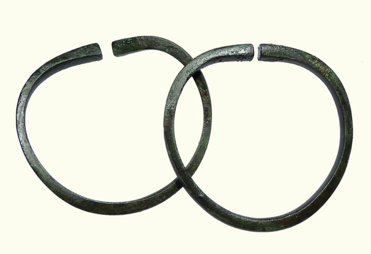 LUR076 - ASSOCIATED MATCHING PAIR OF CHOICE GRADE ANCIENT NEAR EASTERN BRONZE BANGLE BRACELETS