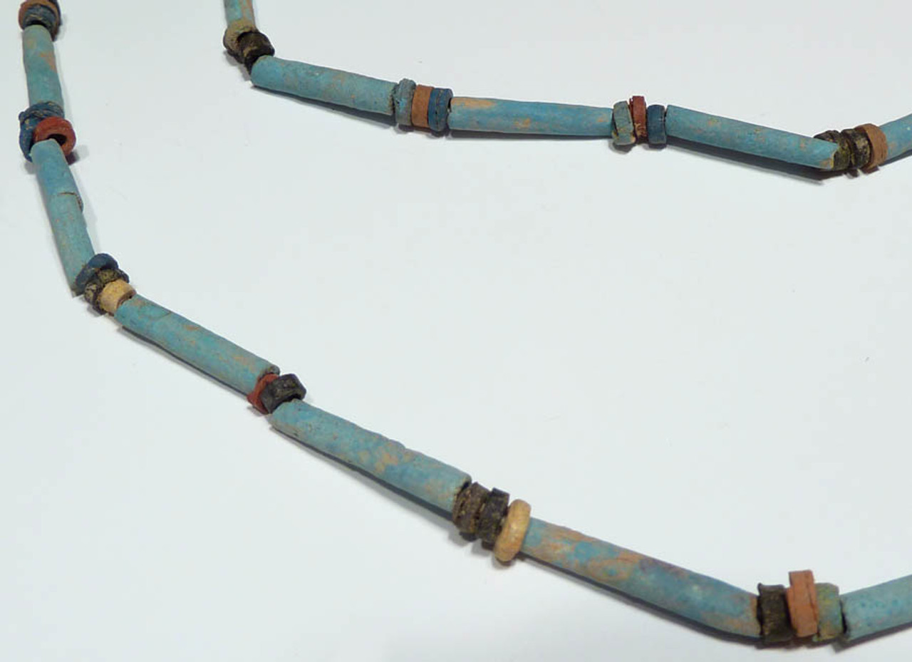"R113 - 36"" WEARABLE AUTHENTIC ANCIENT EGYPTIAN ""MUMMY BEAD"" FAIENCE, STONE AND CLAY BEAD NECKLACE"