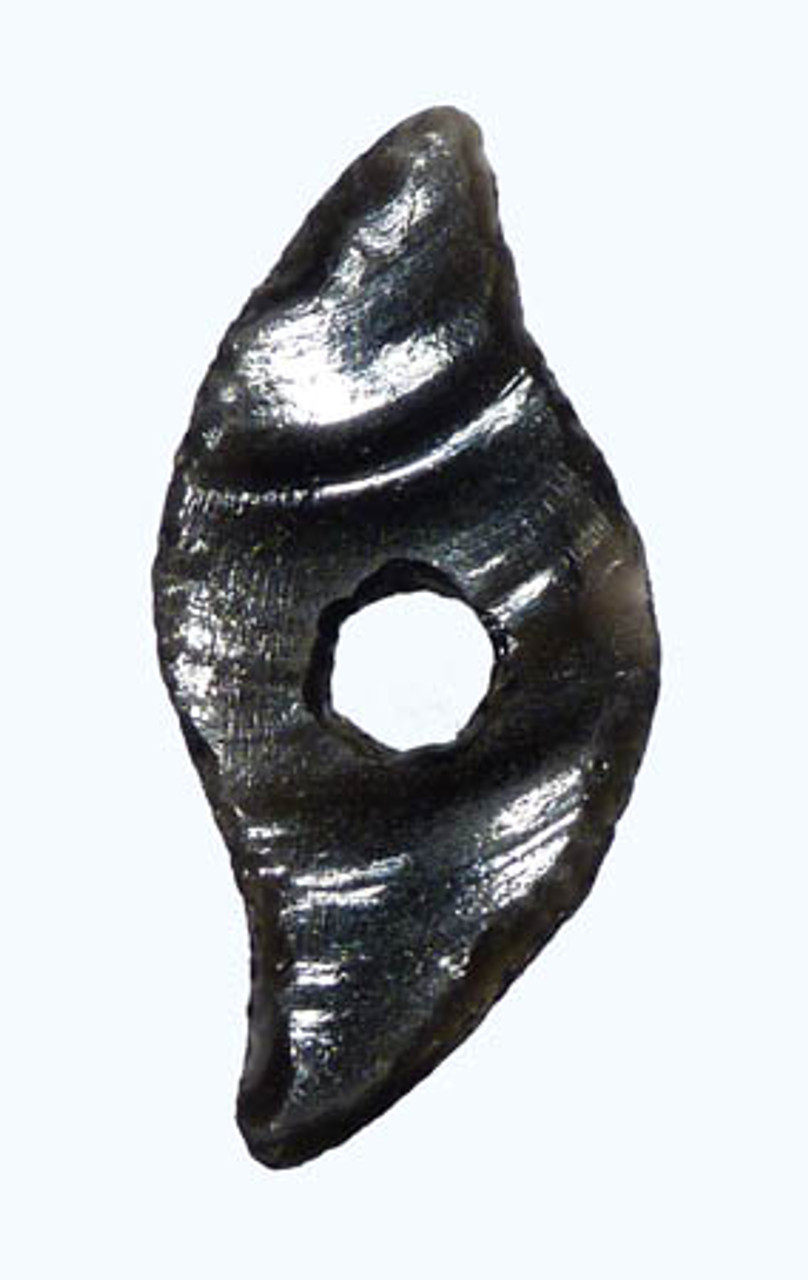 PC010  -  UNUSUAL PIERCED SYMBOLIC OBSIDIAN OBJECT FROM THE ANCIENT PRE-COLUMBIAN TEOTIHUACAN CULTURE