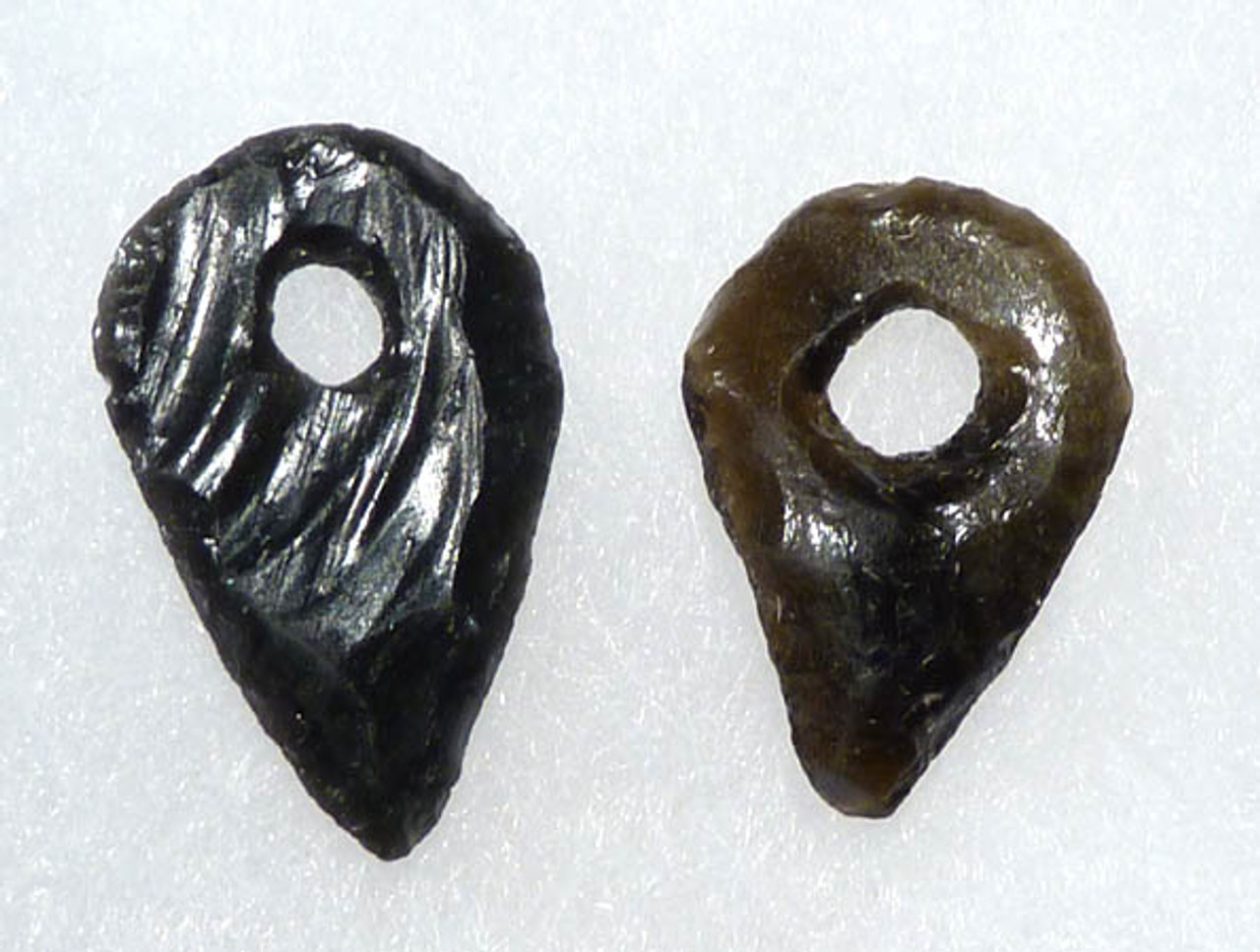 PC011  -   RARE UNUSUAL PAIR OF PIERCED SYMBOLIC OBSIDIAN TEARDROP OBJECTS FROM THE ANCIENT PRE-COLUMBIAN TEOTIHUACAN CULTURE