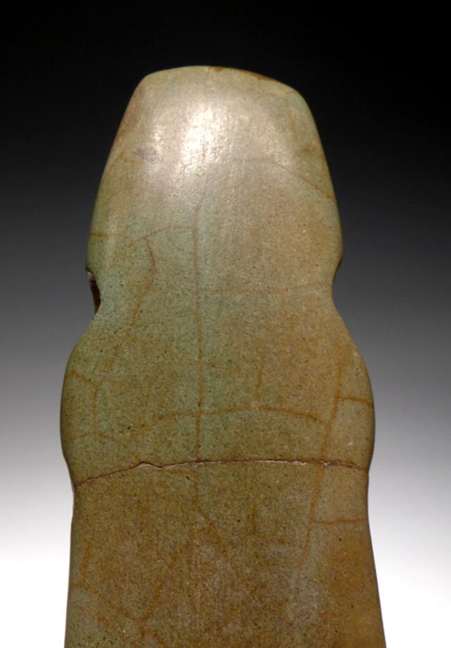 PC125 -    LARGE PRE-COLUMBIAN AXE GOD CARVED PENDANT IN GREEN SERPENTINE FROM CENTRAL AMERICA