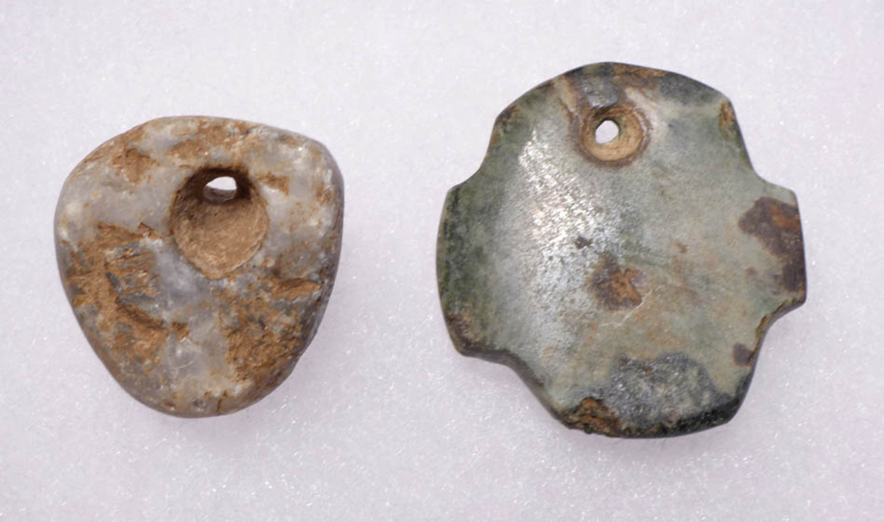 PC086 - SET OF TWO PERFECT PRE-COLUMBIAN MEZCALA WHITE AND GREEN JADEITE MASK PENDANTS SUITABLE FOR WEARING