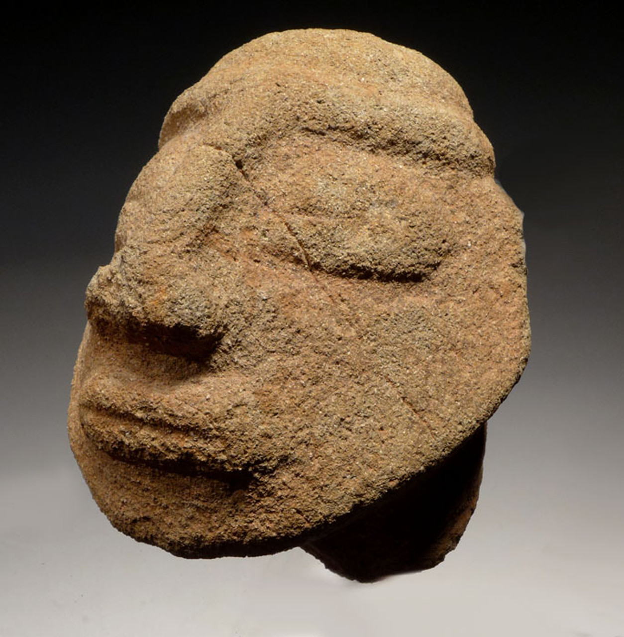 PC202 - PRE-COLUMBIAN STONE CARVED HEAD FROM CENTRAL AMERICA