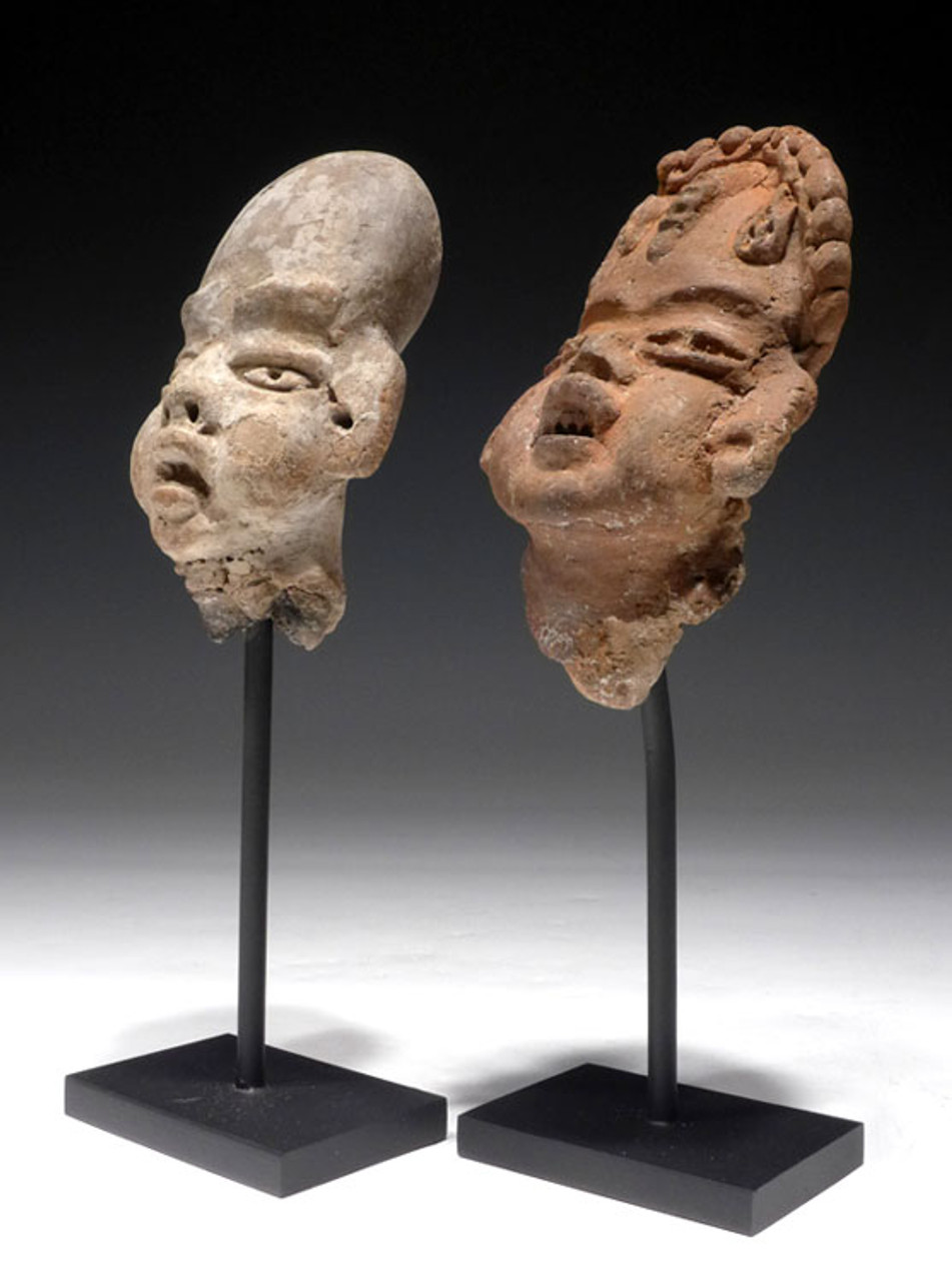 "PC119 - PAIR OF PRE-COLUMBIAN OLMEC CERAMIC ""BABY-FACE"" HEADS FROM LARGE FIGURES"