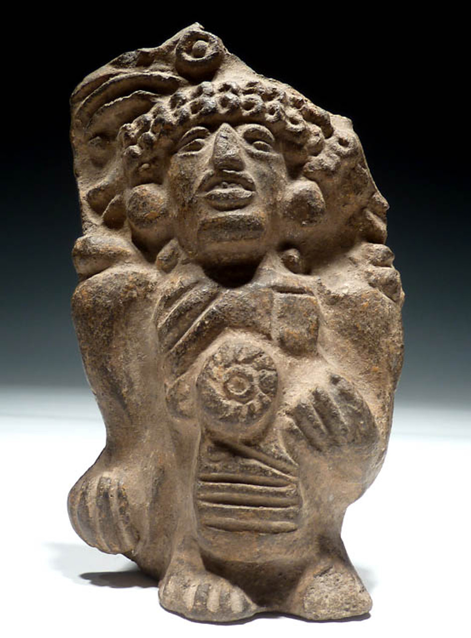 PC062 - BEAUTIFUL DARK CERAMIC MAYAN CHIEF DEITY VOTIVE IDOL WITH SUPERB PATINA