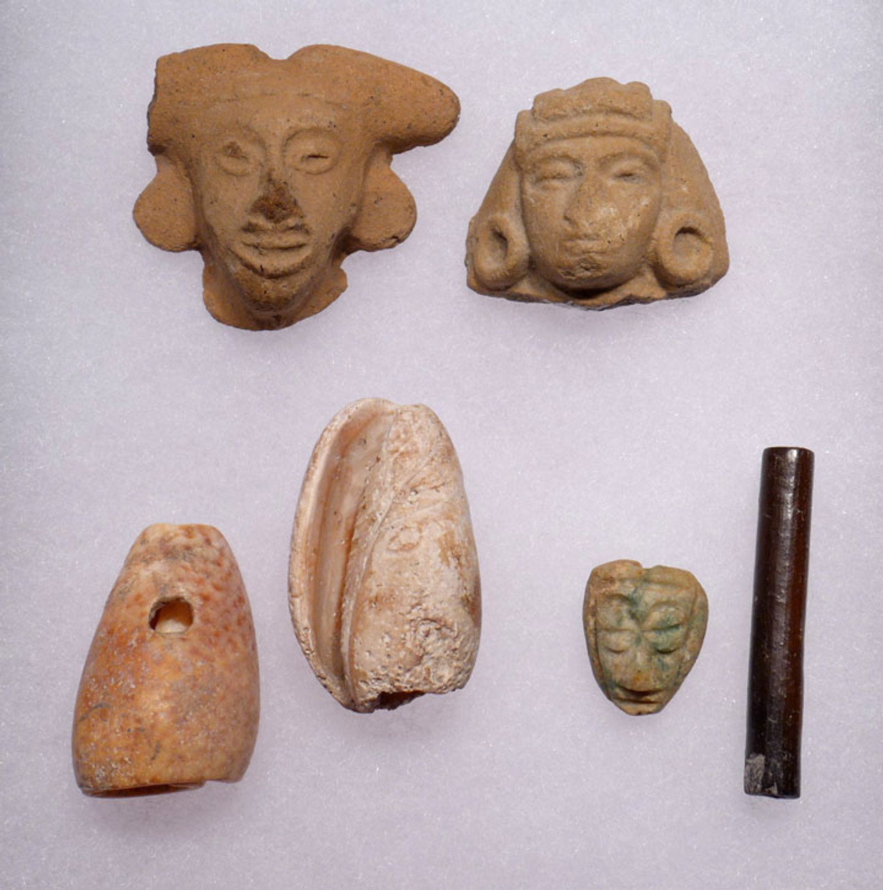 PC126  - EDUCATIONAL FINE GRADE 6 PIECE PRE-COLUMBIAN MEXICO COLLECTION OF FIGURAL AND BODY ADORNMENT OBJECTS