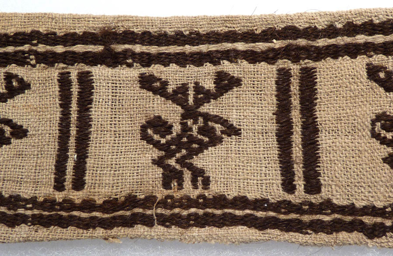 PC039 - PRE-COLUMBIAN DECORATIVE BORDER TEXTILE FABRIC WITH ALIEN-LIKE CREATURES