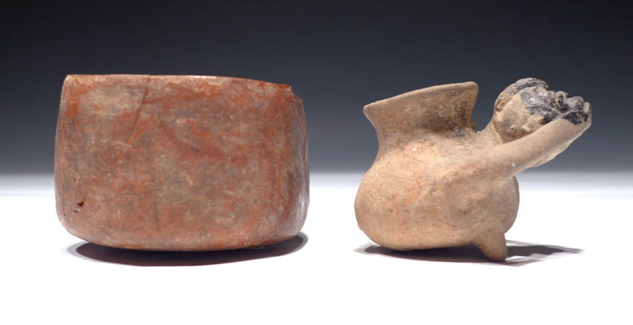 PC084 - PAIR OF INTACT PRE-COLUMBIAN CERAMIC VESSELS INCLUDING COMICAL MONKEY URN AND UTILITARIAN PLAN CUP