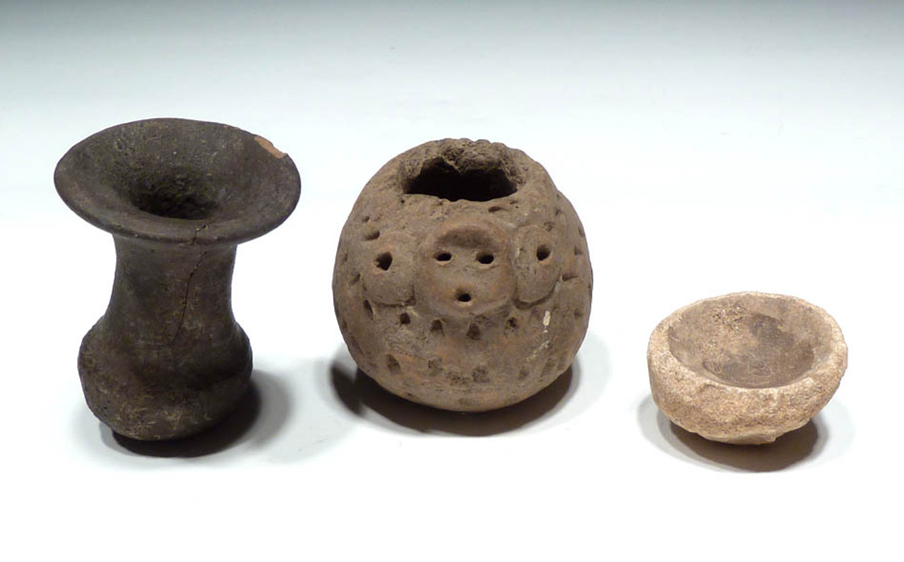 "PC072 - ADORABLE SMALL MAYAN PORCUPINE VESSEL WITH TWO OTHER ""MEDICINE"" VESSELS"
