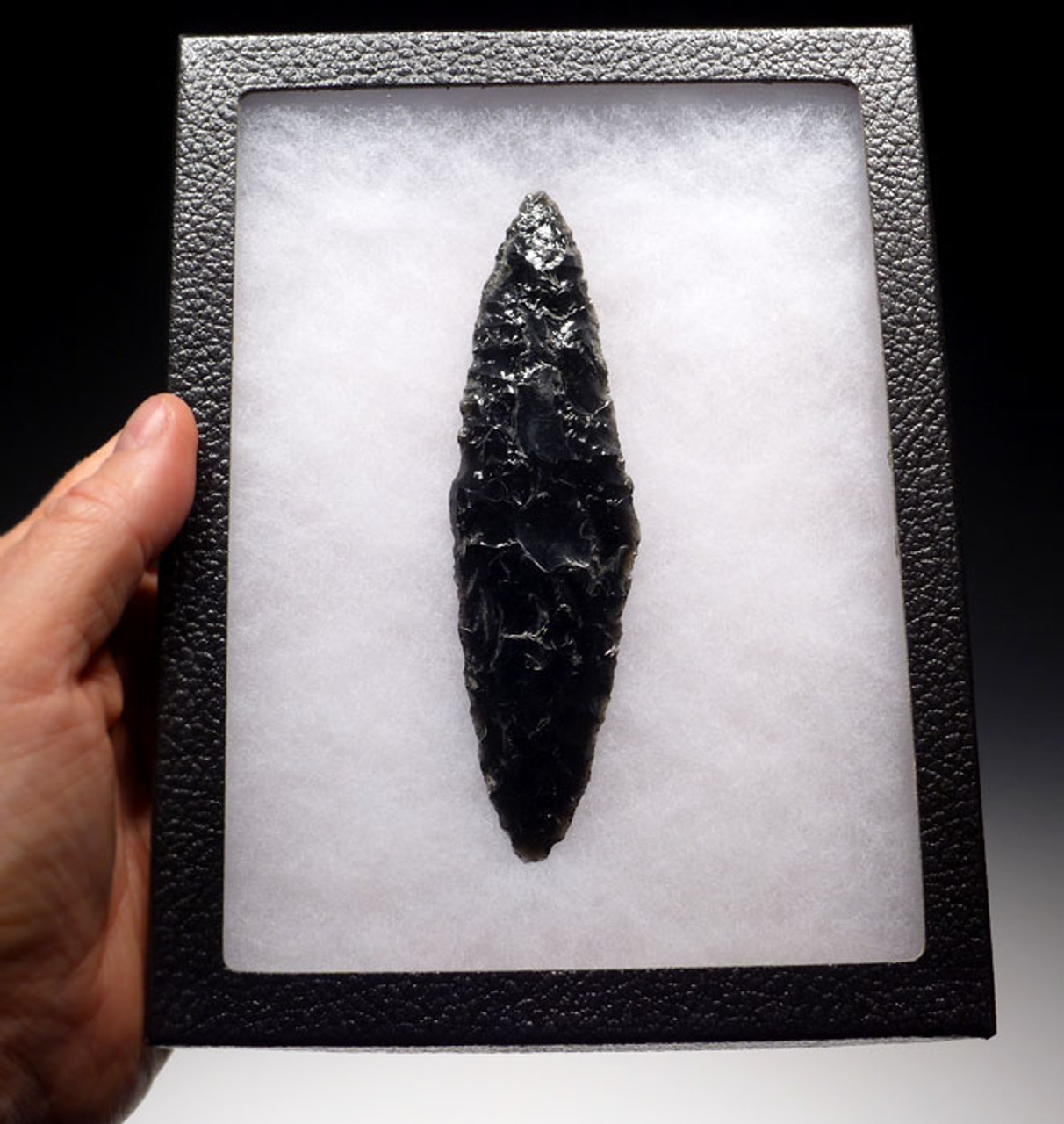 PC221 - EXCEPTIONALLY MADE UNBROKEN AZTEC OBSIDIAN BIFACIAL DAGGER IN CEREMONIAL OLIVE GREEN OBSIDIAN