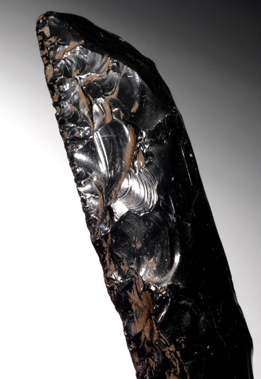 PC211 - EXTREMELY LARGE MUSEUM GRADE AZTEC OBSIDIAN UNIFACIAL BLADE SCRAPER