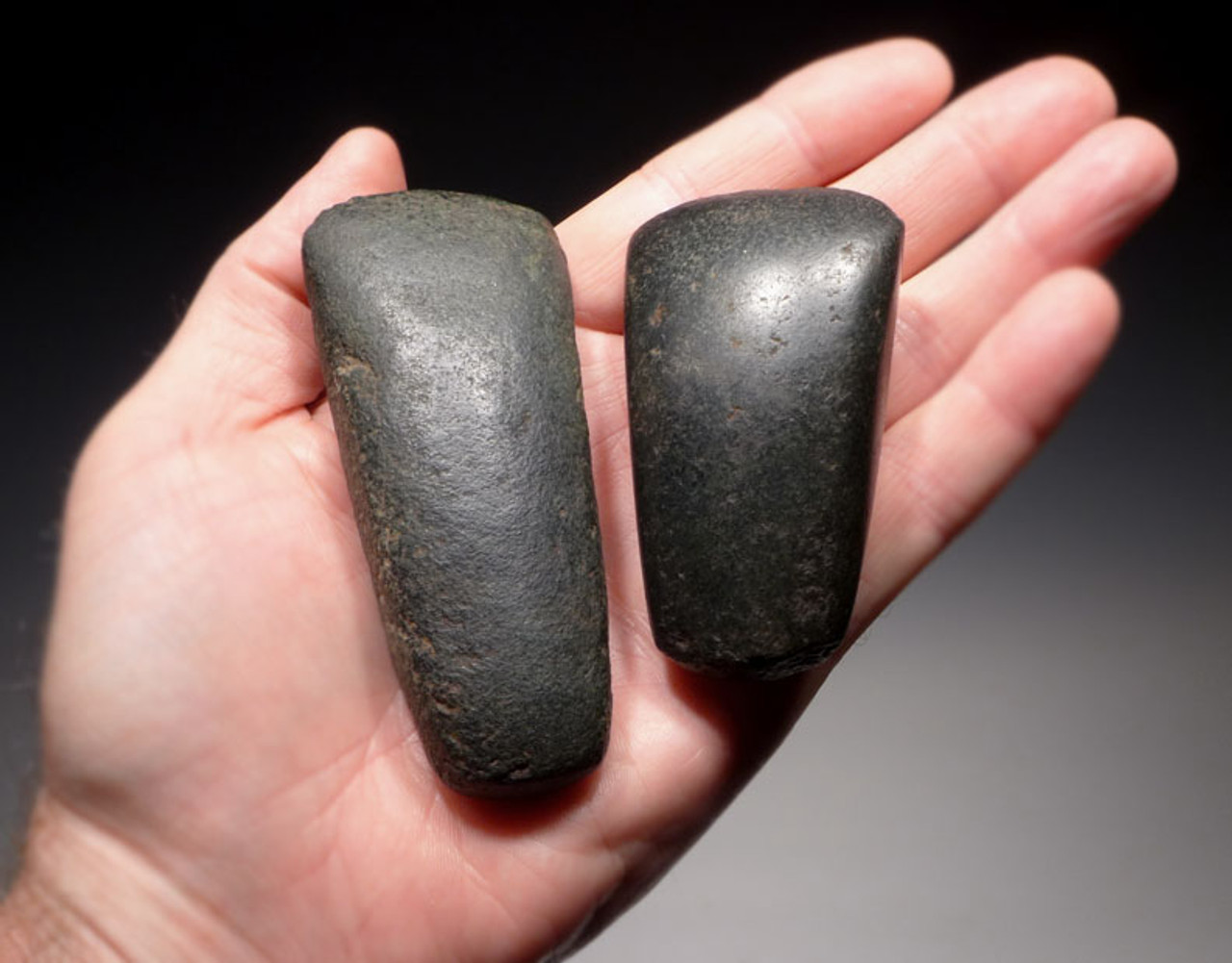 PC118 - SET OF TWO PRE-COLUMBIAN MAYAN HARDSTONE POLISHED WAR AXES