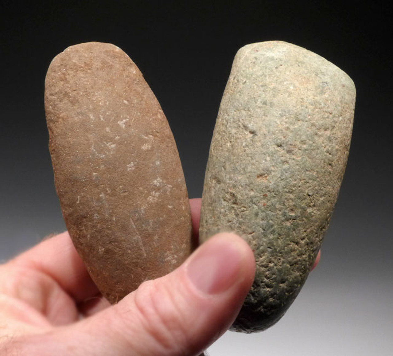 PC107 - SET OF TWO COLORFUL PRE-COLUMBIAN MAYAN STONE CELT WAR AXES