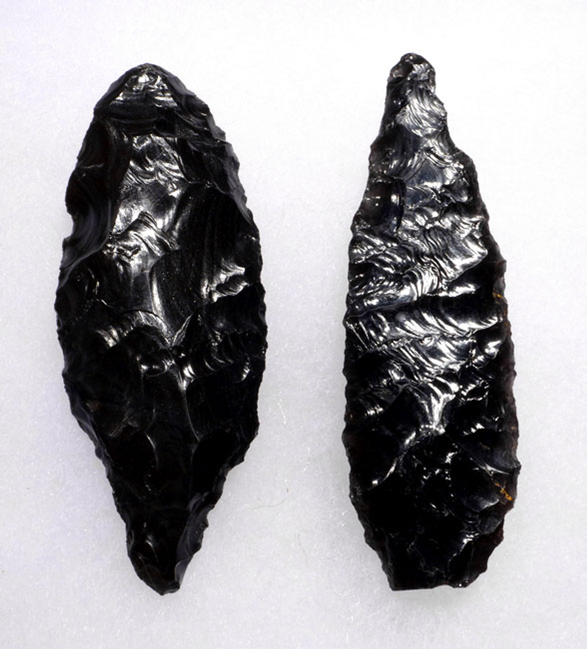 PC214 - CHOICE GRADE SET OF 2 LARGE ATLATL PRE-COLUMBIAN OBSIDIAN SPEARHEADS OF DIFFERENT DESIGNS