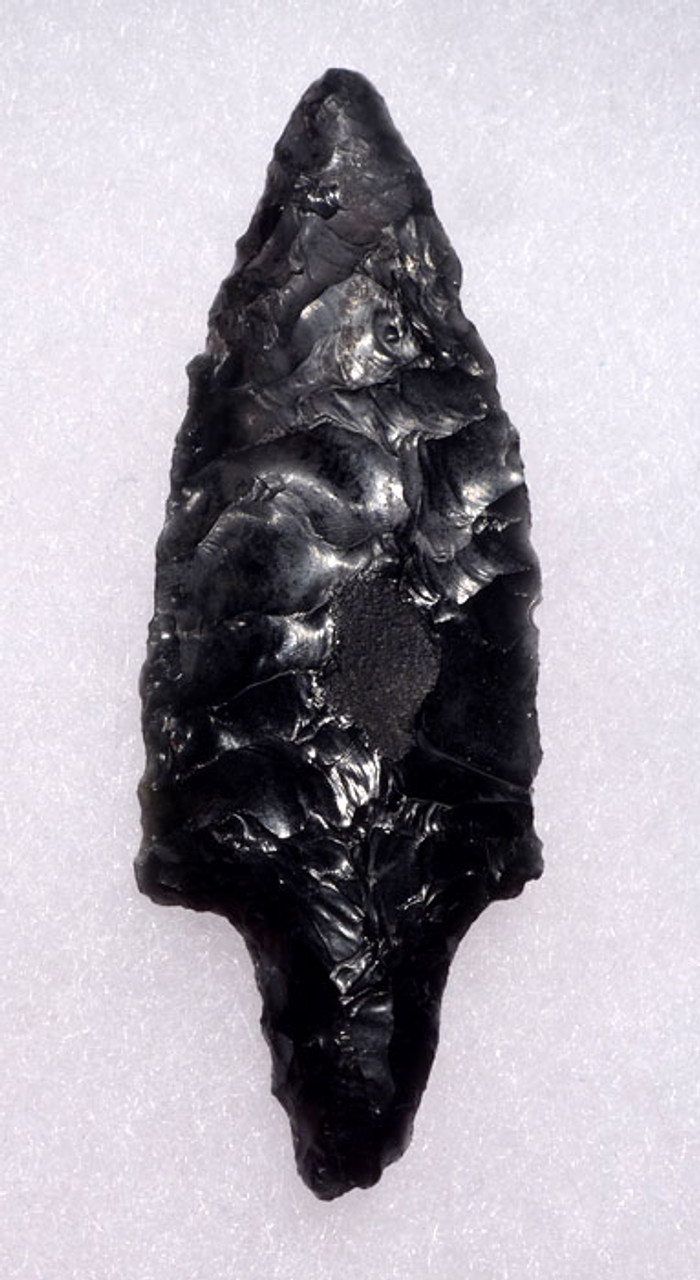 PC215 - CHOICE GRADE LARGE PRE-COLUMBIAN OBSIDIAN BIFACIAL ARROWHEAD WITH SUPERB WORKMANSHIP