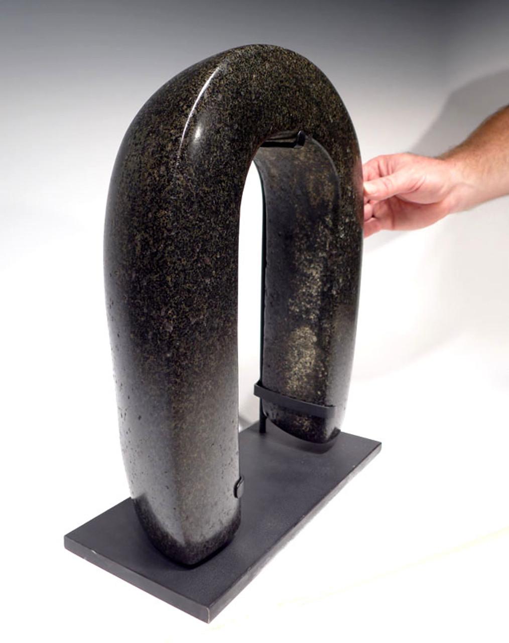 PC088 -  MUSEUM SPECIMEN MASSIVE PRE-COLUMBIAN RITUAL STONE BALLGAME CEREMONIAL YOKE INTACT FROM MESOAMERICA